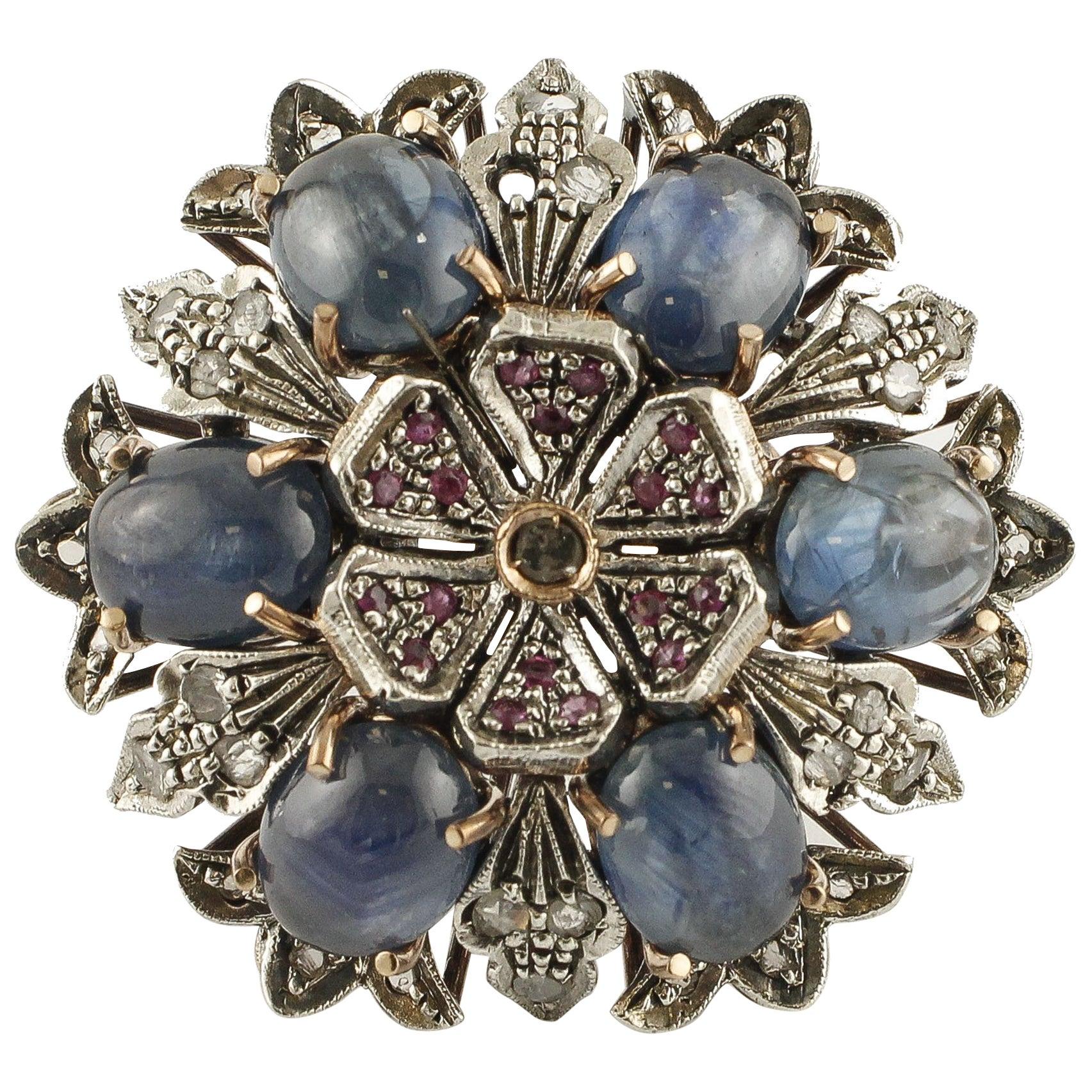 Rubies, Blue Sapphires, Diamonds 9 Karat Gold and Silver Flowery Retro Ring
