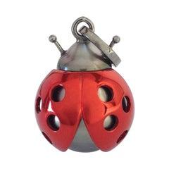 Petronilla Ladybug/Ladybird 18 Kt Red White Gold Tahiti Pearl Pendant Necklace