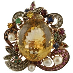 Central Yellow Topaz, Diamonds, Emeralds, Rubies, Little Pearls Retro Ring