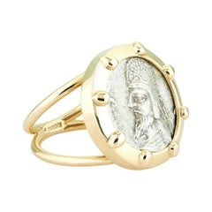 Dubini Ancient Silver Persian Coin Signet 18 Karat Yellow Gold Ring
