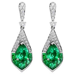 1.15 Carat Pear Emerald and Diamond 14 Karat White Gold Drop Earrings