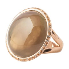 Pink Gold Ring with Natural Smoky Quartz, Ornamented with 34 Diamonds Color F