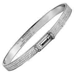 Hermès Kelly Diamond Pave White Gold Bracelet Size Large