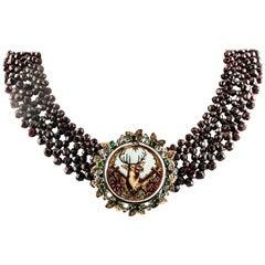 Garnet Multri-Strand Necklace, Diamonds, Emeralds, Painted Hard Stone