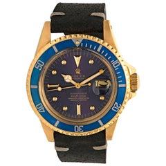 Rolex Submariner Yellow Gold Blue Nipple Dial Model 1680, circa 1978