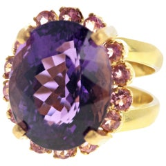 Amethyst and Pink Tourmaline Gold Ring