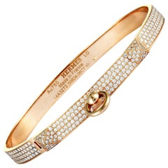 Hermès Kelly Diamond Pave Bangle Rose Gold Bracelet