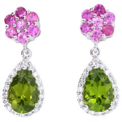 Peridot, Pink Sapphire and Diamond Earrings