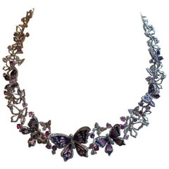 White Diamonds Sapphires White Gold Micromosaic Butterfly Necklace