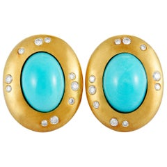 Tiffany & Co. Vintage Diamond and Turquoise Yellow Gold Clip-On Earrings