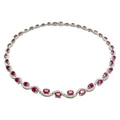 23.04 Carat Ruby Diamond White Gold Necklace