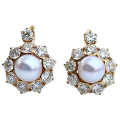 Natural Pearl and Diamond 18 Karat Yellow Gold Earrings