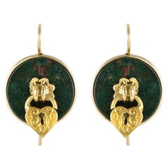19th Century Blood Jasper Sentimental Padlock Drop Earrings