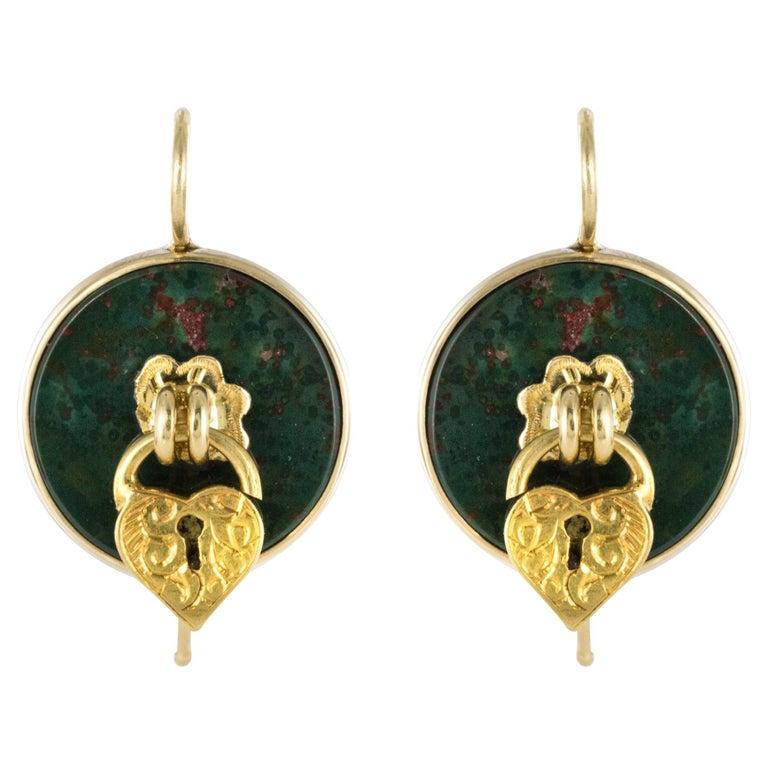 19th Century Blood Jasper Sentimental Padlock Drop Earrings For Sale