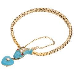 Antique Victorian Snake Bracelet 18 Karat Gold Blue Enamel Garnet Pearl Old