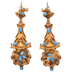 Antique Turqouise and Gold Drop Earrings