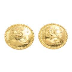 18 Karat Gold Pegasus Earrings, circa 1980s