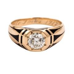 Rare 14 Karat Art Deco Gents Diamond Engagement Wedding Ring 1.01 Carat