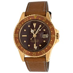 """Rolex GMT """"Root Beer"""" Yellow Gold Brown Nipple Dial Model 1675, circa 1972"""