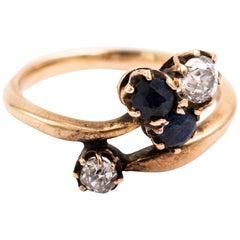 Austrian Hungarian 14 Karat Diamond Sapphire Clover Ring, circa 1890s