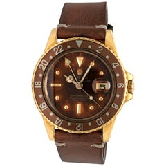 Rolex GMT Root Beer Tropical Brown Nipple Dial Yellow Gold Model 1675 circa 1978