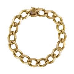 French 1960s Massive Chiseled 18 Karat Yellow Gold Chain Bracelet