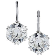 Vivid Diamonds Handmade 7.83 Carat Old European Cut Diamond Dangle Earrings