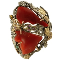 Corals, Diamonds, Rubies, Emeralds, Gold and Silver Retro Cocktail Ring