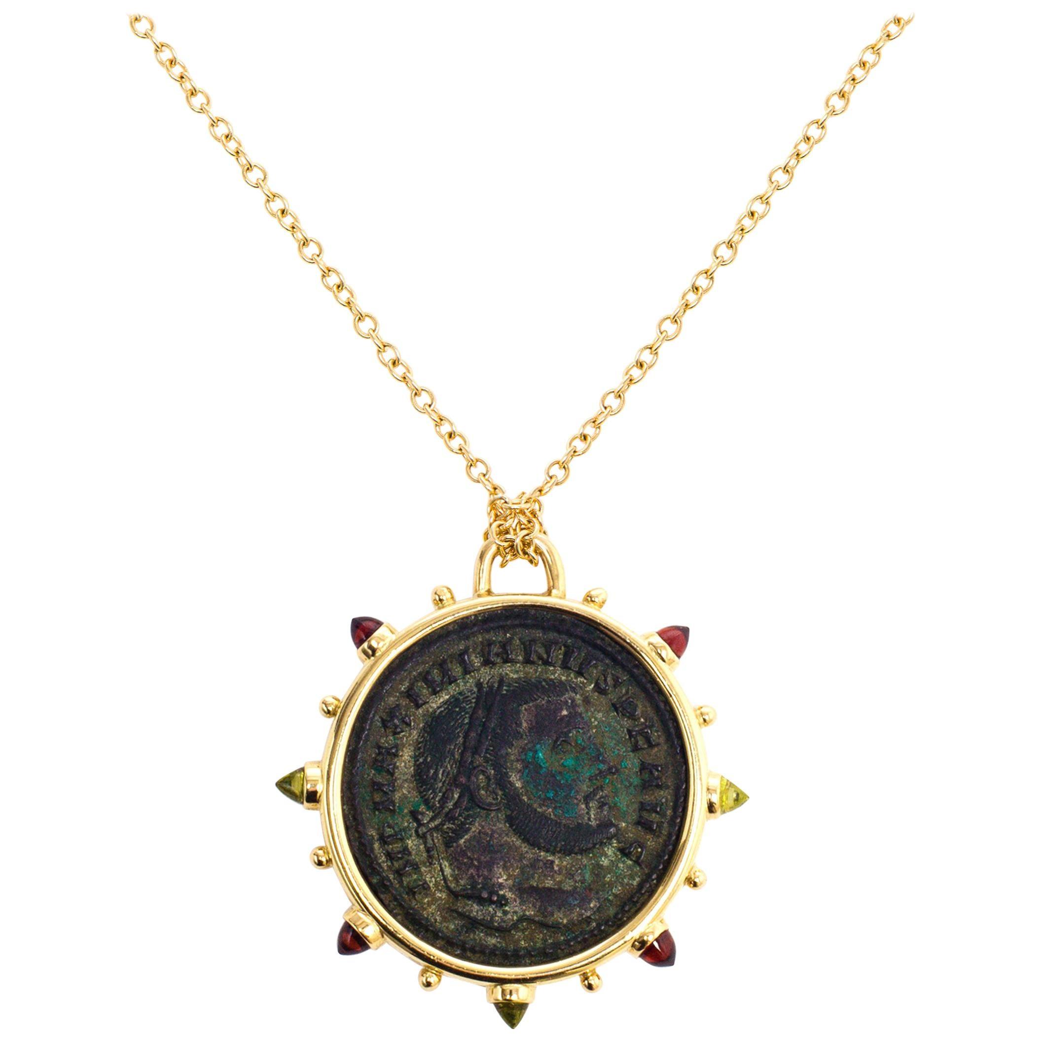 Dubini Empires Ancient Bronze Coin Medallion 18 Karat Yellow Gold Necklace