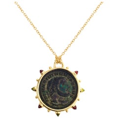 Dubini Empires Ancient Bronze Coin Medallion 18 Karat Yellow Gold Necklace