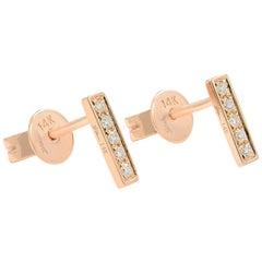 14 Karat Rose Gold Prong Diamond 0.08 Carat Bar Stud Earring