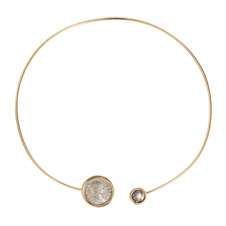 Empires Ancient Silver Coin 18 Karat Yellow Gold Choker Necklace For Sale