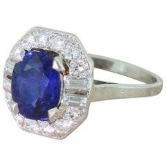 Art Deco 3.00 Carat Natural No Heat Sapphire and Diamond Platinum Ring