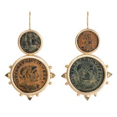 Dubini Constantine Ancient Bronze Coin Citrine 18 Karat Yellow Gold Earrings