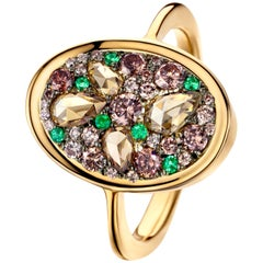 Joke Quick 0,98 ct. Chocolate Pink Diamond & Emerald Pave Ring