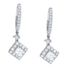 18 Karat White Gold Diamond Earrings