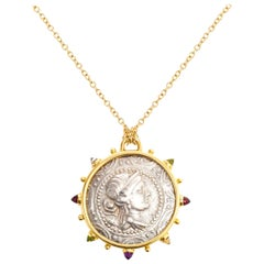 Artemis Macedon Ancient Silver Coin Medallion 18 Karat Yellow Gold Necklace