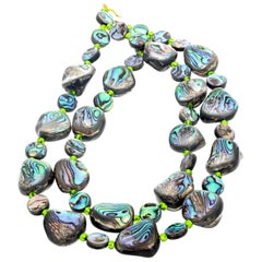 Exotic Glamorous Double Strand Natural Abalone Shell Necklace