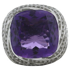Large Amethyst Diamond Gold Cocktail Ring