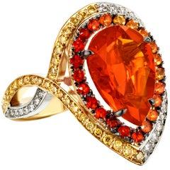 18K Rose, Yellow , White Gold 2,78 Carat Fire Opal and Diamond Coctail ring