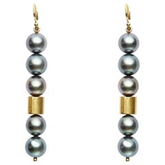 Black Tahitian Pearl and 20 Karat Gold Tube Earrings