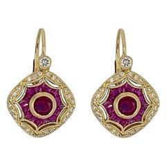 18 Karat Yellow Gold Ruby Diamond Earrings