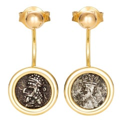 Dubini Kings of Persis Ancient Silver Coin 18 Karat Yellow Gold Earrings