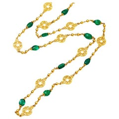24 Karat Gold Link Necklace Adorned with Emerald Beads
