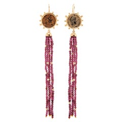Dubini Constantine Ancient Bronze Coin Garnet Tassel 18 Karat Gold Earrings