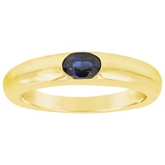 0.38 Carat Oval Cut Blue Sapphire Solitaire Ring
