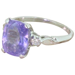 Midcentury Natural Colour Change Sapphire Solitaire Ring