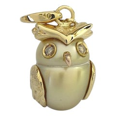 Owl Diamond 18K Gold Australian Pearl  Charm or Pendant Necklace