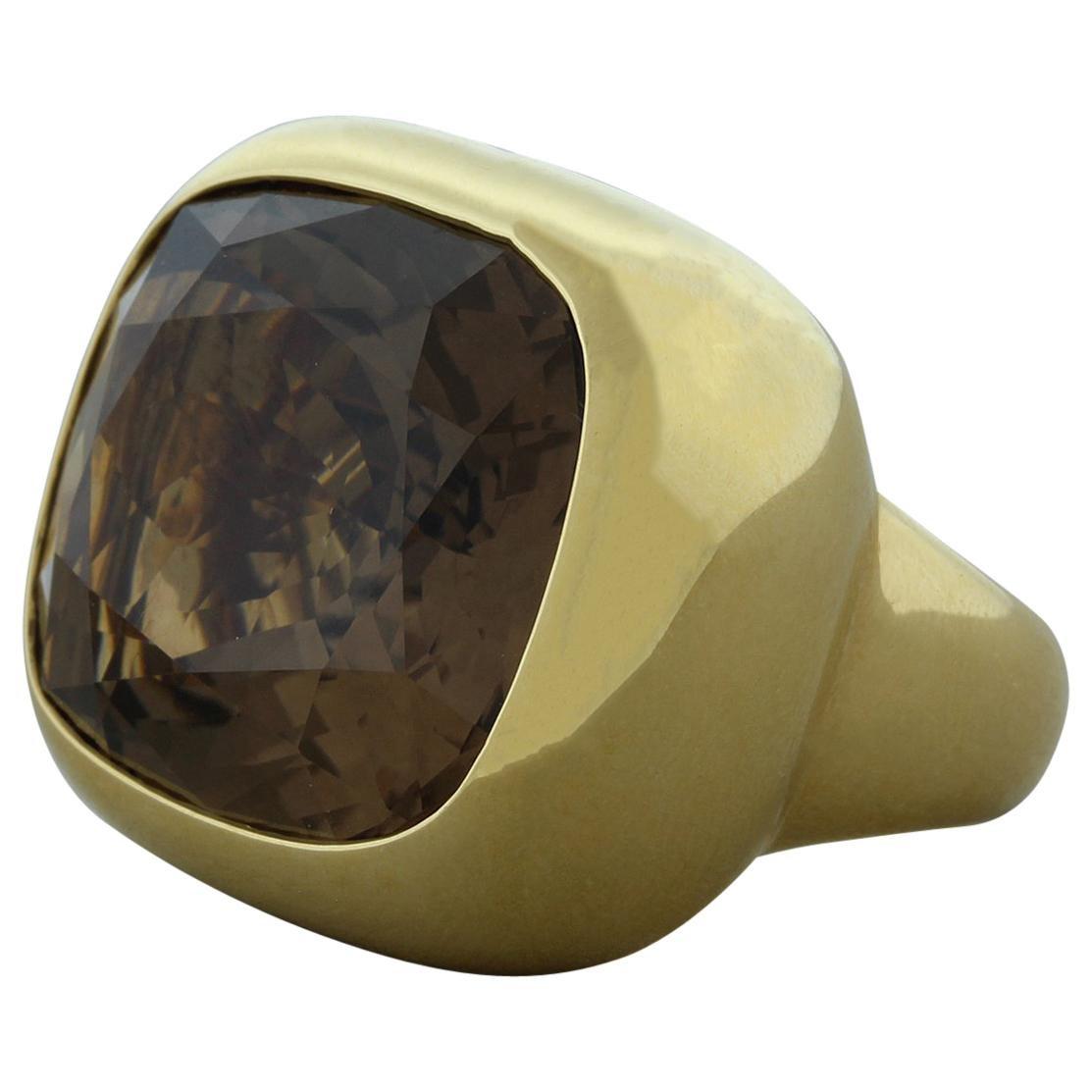 Large Smoky Quartz Gold Cocktail Ring