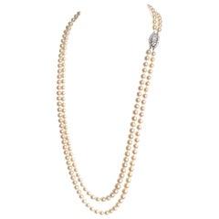Van Cleef & Arpels Bead Necklace Cultured Pearls, 18 Karat Gold and Diamonds
